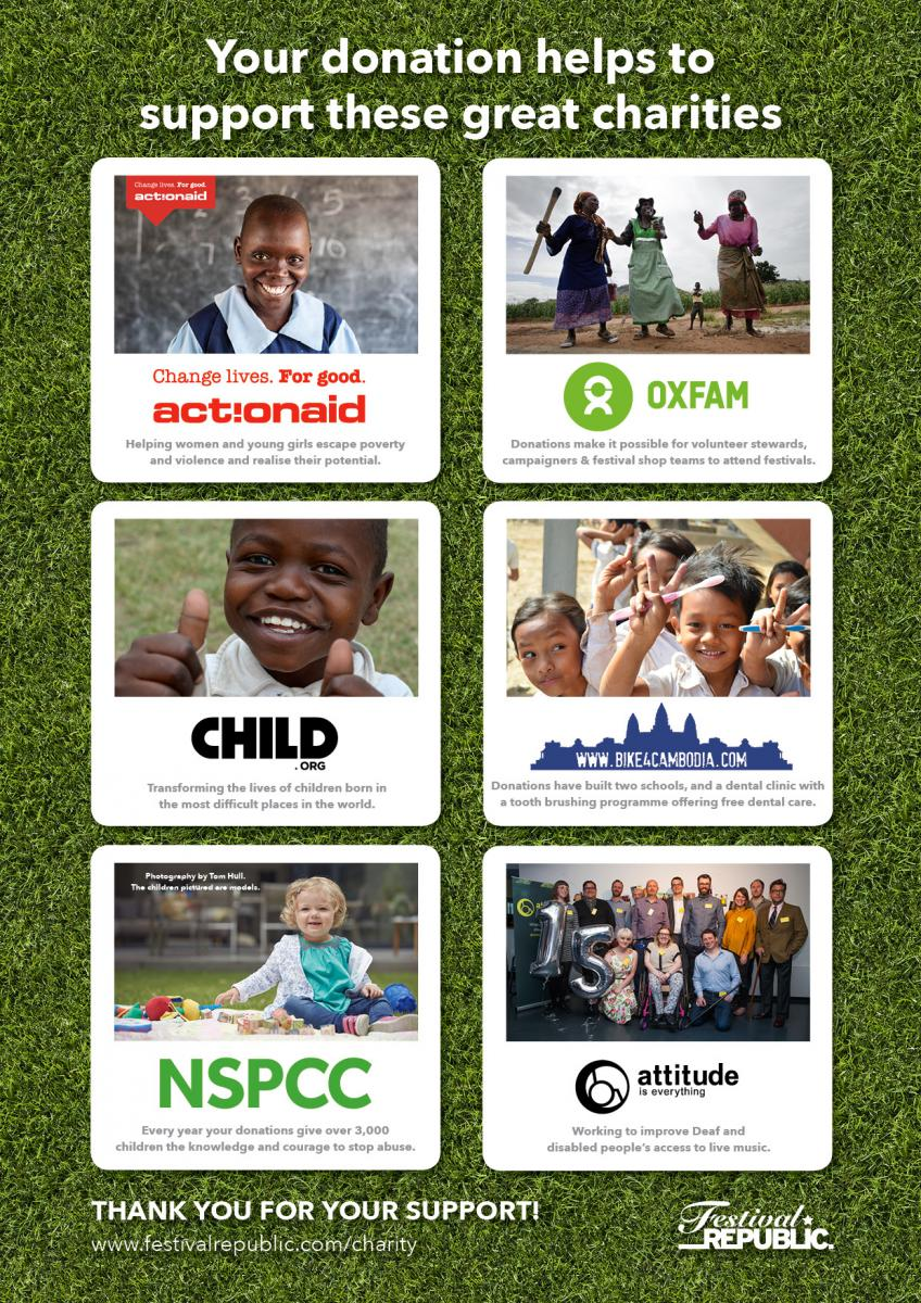 Your donations helps to support these great charities